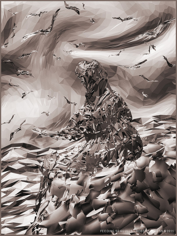 Feeding Seagulls - By Robert J. Tiess