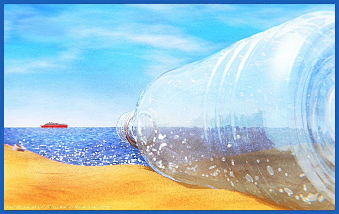 Ship, Water, Bottle, Beach - By Robert J. Tiess