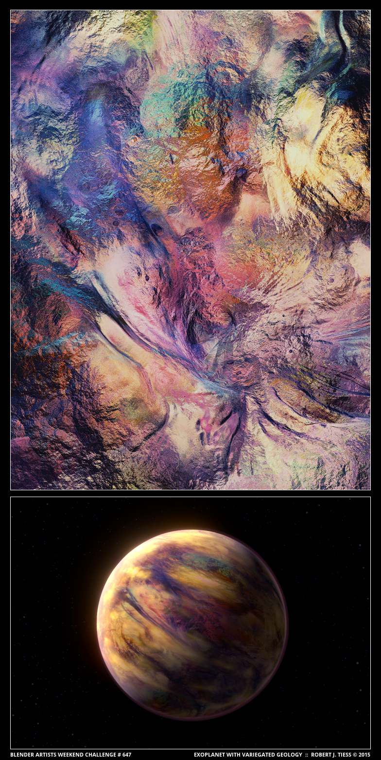 Exoplanet with Variegated Geology (A Diptych) - By Robert J. Tiess